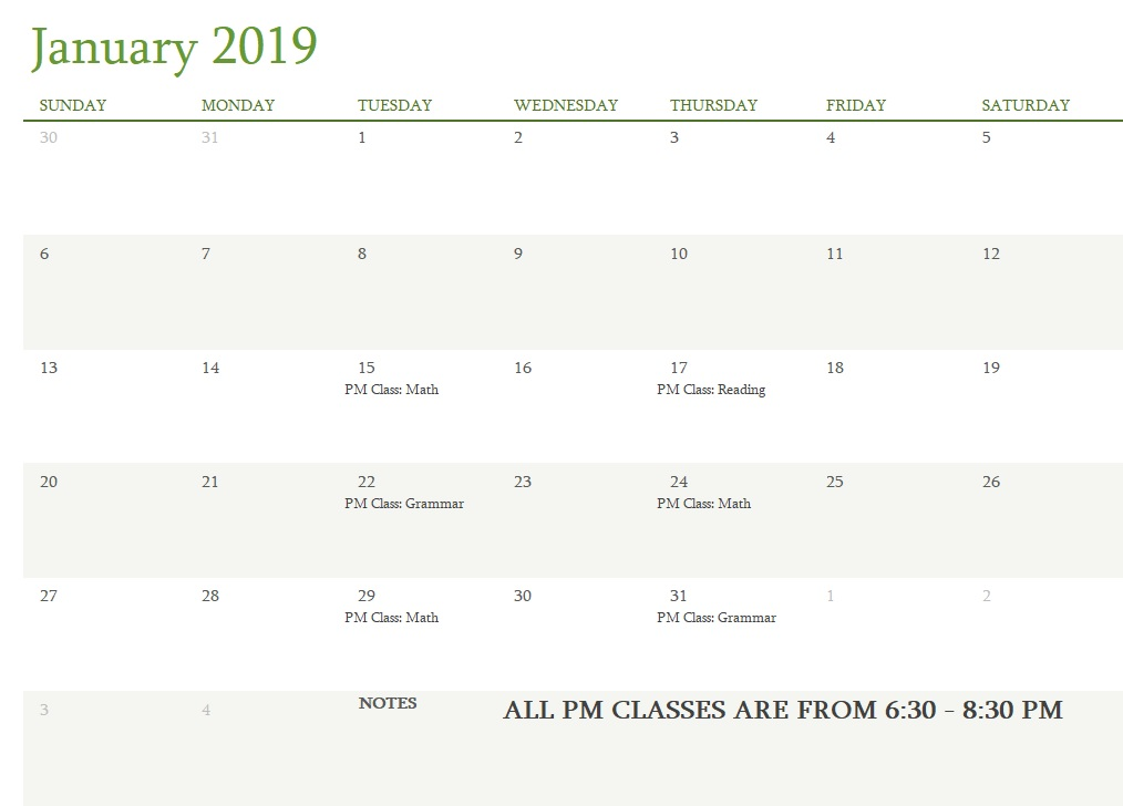 Attest Classes January 2019