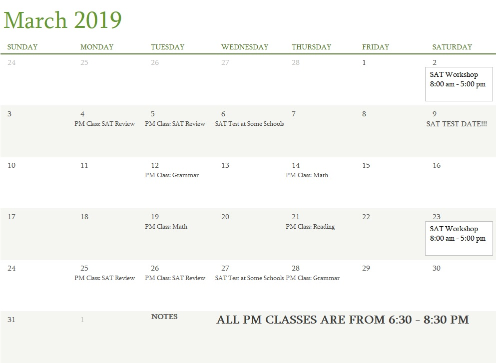 Attest Classes March 2019