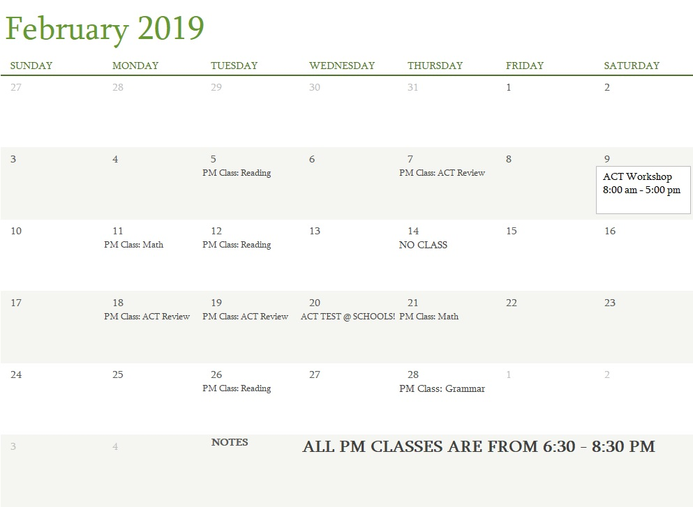 attest classes february 2019