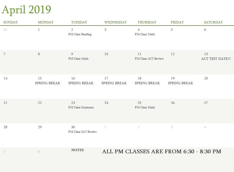 Attest Classes April 2019