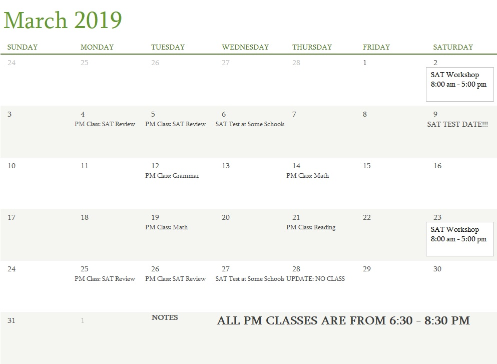 Attest Classes March 2019 UPDATED