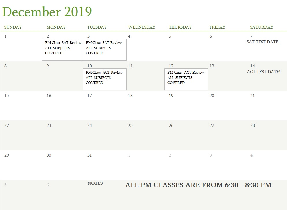 Attest Classes December 2019