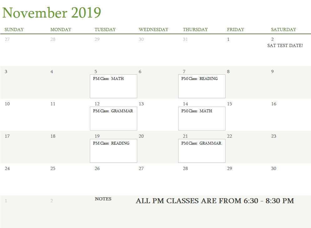 Attest Classes November 2019