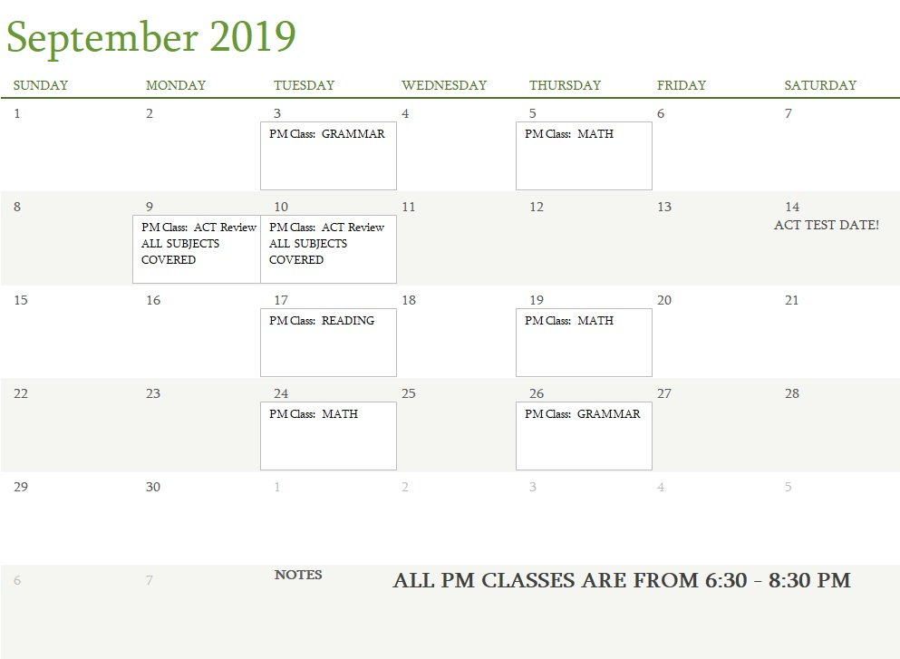 Attest Classes September 2019