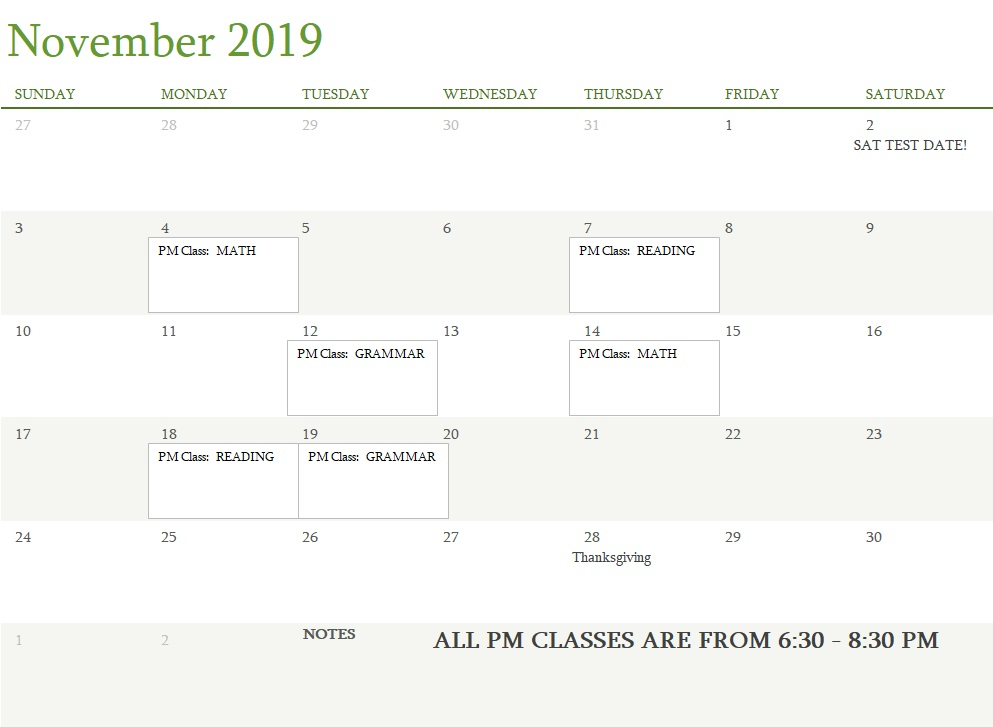 Attest Classes November 2019 UPDATED