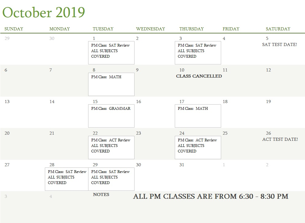 Attest Classes October 2019 UPDATED