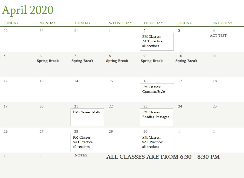 Attest Classes April 2020
