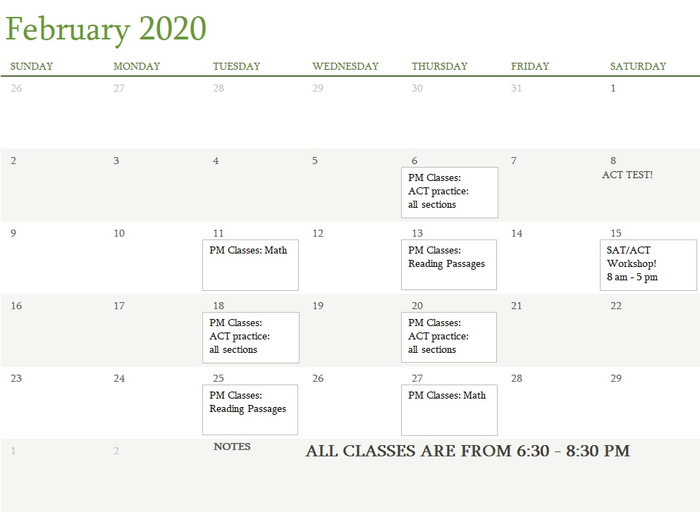 Attest Classes February 2020
