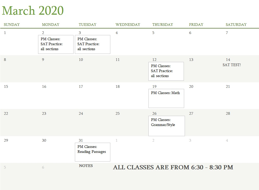 Attest Classes March 2020